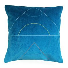 Fun Makes Good Outlines Cushion In Blue: Embroidered cushion by Fun Makes Good.  Made using the finest silk mix threads onto velveteen fabrics. The reverse of the cushions are made in velveteen with contesting coloured zip details.