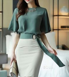 Side Buckle Belted Half Sleeve Blouse - Korean Women's Fashion Shopping Mall, Styleonme. N Source by mariavashkeba - Mode Outfits, Office Outfits, African Fashion, Korean Fashion, Korean Women, Mode Style, Half Sleeves, Blouse Designs, Womens Fashion