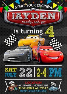 New Disney Cars Birthday Party Invitations Etsy Ideas Disney Cars Party, Disney Cars Birthday, Cars Birthday Parties, Disney Cars Cake, Car Themed Birthday Party, Race Car Birthday, Birthday Diy, Birthday Cakes, Birthday Ideas