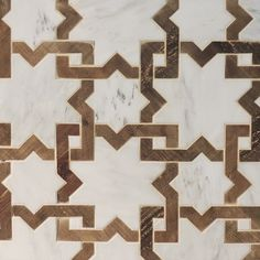 French oak and Calacatta marble mosaic  moroccan pattern marble/wood tile…