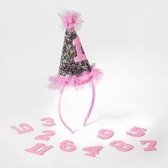 07cc6c7f4b4 Baby Girls  Milestone Glitter Hat with Numbers - Cat   Jack™ Pink   Target