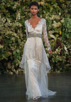 The Gothic Angel bridal fashion collection by LA based designer Claire Pettibone, for Silver Wedding Gowns, 2015 Wedding Dresses, Wedding Dress Styles, Bridal Dresses, Dress Wedding, 2017 Wedding, Claire Pettibone, Marie Claire, Bridal Collection