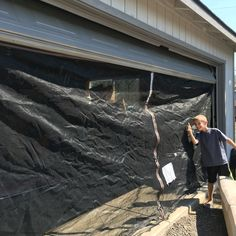 Repurposed trampoline safety net to garage screen