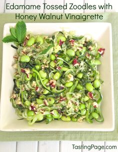Zoodles Tossed with Edamame in a Walnut Mint Vinaigrette - a great meatless salad for summer   TastingPage