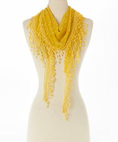 Another great find on #zulily! Yellow Floral Lace-Fringe Linen-Blend Scarf by Pretty Angel #zulilyfinds