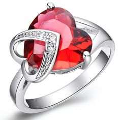 Fashion Double Heart Red Zircon Women's Ring Free Shipping $2.56.    Dir 0p