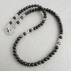 Black Agate Gemstone Mens Necklace - Beaded Jewelry for Gentlemen - Handcrafted in USA