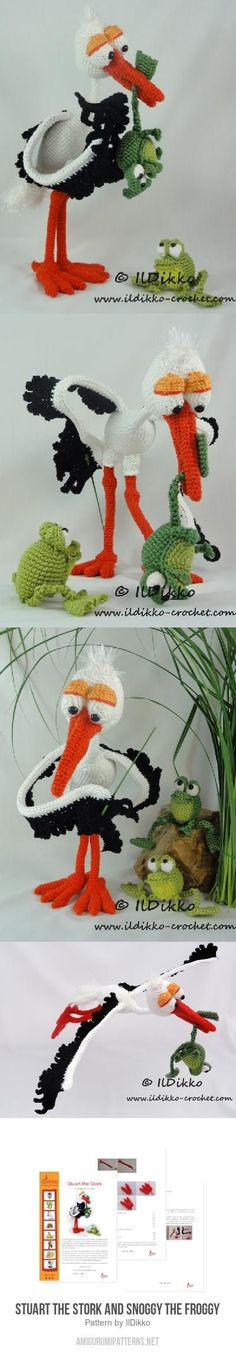 Stuart The Stork And Snoggy The Froggy Amigurumi Pattern                                                                                                                                                     More
