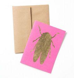 Handprinted Gold Embossed Recyled Gift Box Gold Leaf Design
