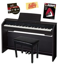 Casio Privia PX-860 88-Key Digital Piano Bundle with Gearlux Furniture-Style Bench, Instructional Book, Austin Bazaar Instructional DVD, and Polishing Cloth - Black *** Visit the image link more details.