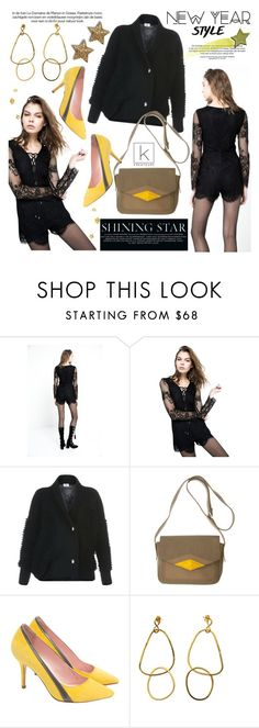 """Shining Star!"" by kreateurs ❤ liked on Polyvore featuring Deby Debo, Devastee, handbag, playsuit, StilettoPumps, lacedetails and kreauters"