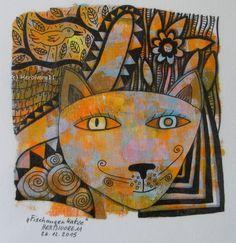 FISCHAUGENKATZE von Herbivore11 Unikat Katze Vogel Bild Kunst Laminierfolie