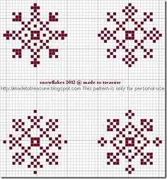 Cross stitch snowflakes More snowflakes from the desert… madetotreasure.blogspot.com