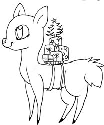 Christmas Tree And Reindeer Coloring Page