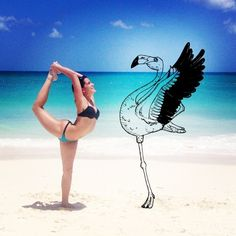 Training with flamingos @m_garcea #yoga #aruba #flamingo #beach #ocean #sun #hot #girl #asanas #fitness #exercicio #instayogi #yogi #sport #IdeiasFeitasaMao #draw #drawing #sketch #illustration #pen #pencil #black #astromeleon