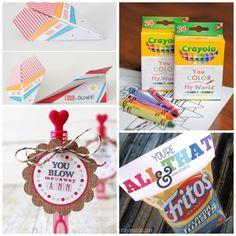 Paper Airplane Valentines, Crayon Valentines, Bubble Valentines, and Chip Valentines