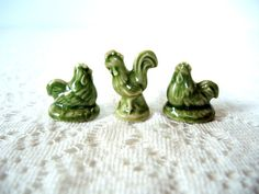 Green Hens & Rooster Wade Figurines Red Rose Tea by injoytreasures, $5.00