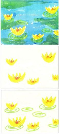Art Projects for Kids: Monet's Water Lilies. Pretty and easy watercolor resist. Fine motor