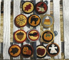 primitive folk art wool decor | Primitive Folk Art Wool Applique Pattern: FALL & HALLOWEEN ORNAMENTS