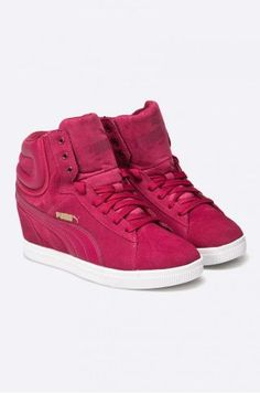 Adidasi Puma cu platforma ascunsa roz High Tops, High Top Sneakers, Wedges, Adidas, Shoes, Fashion, Moda, Zapatos, Shoes Outlet
