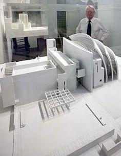 Richard Meier and the model of Jubilee Church. Photo courtesy of Richard Meier & Partners Architects