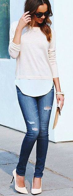 f1d6a496ac38c2 Knit Sweater Top Casual Outfits