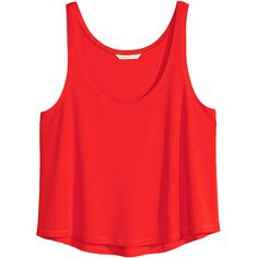 H&M Short sleeveless top (8,64 BRL) ❤ liked on Polyvore featuring tops, shirts, crop top, blusas, red, shirt tops, short shirts, h&m shirts, red shirt and short tops