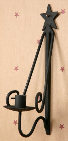 New Primitive Country BLACK STAR CANDLE PLATE HOLDER Hanging Wall ...