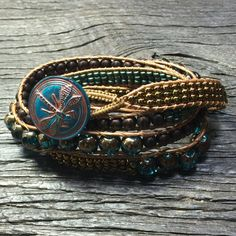 Four-wrap boho bracelet with turquoise and by CrosslakeArtisans