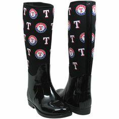 Cuce Shoes Texas Rangers Womens Enthusiast II Rain Boots - Black