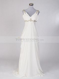 Maternity *Ivory Sleeveless V Neck Rhinestone Chiffon Empire Wedding Dress