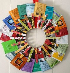 "Make this ""Tea"" wreath as a gift for your tea-drinking friends!-  use vinyl record as base #reuse"