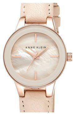 Anne Klein Round Leather Strap Watch, 30mm