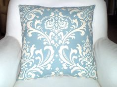 Decorative Pillows Accent  Pillows, Throw Pillow Cushion Covers Blue Natural Cream Damask - One 16 x 16 via Etsy