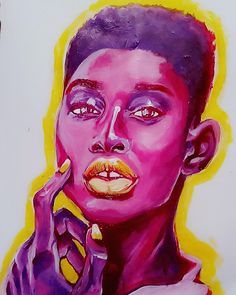 Acrylic multichromatic portrait on drawing paper. Chimera Visions by Yiyi Elena . . . . . . .     .#art #acrylic #paint #painting #artinspo #artinspiration #inspire #acrylicpaint #acrylicpainting #purple #pink #fuchsia #yellow #blackart #blackwomen #model #muse