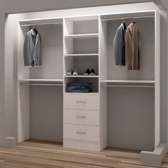 Organize shoes, clothes, and accessories and make the most of your closet space with this reach-in closet organizer. This reach-in closet organizer has six shelves, three drawers, and four closet rods Bedroom Closet Design, Master Bedroom Closet, Closet Designs, Diy Bedroom, Closet Ideas For Small Spaces Bedroom, Closet Design Tool, Small Basement Bedroom, Small Master Closet, Custom Closet Design