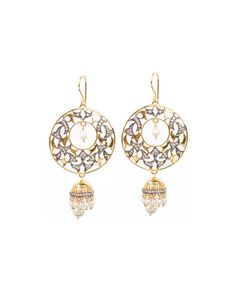 Elegant Crescent Shaped Hook Earrings With Dangling Pearl Jhumkis
