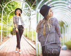 Kate Katy Classic Jacket, Kate Katy Black Rebel Hat, Romwe Faux Leather Pants, Rebecca Minkoff Chain Cross Body Bag, Oasap Blouse, Zara Heels