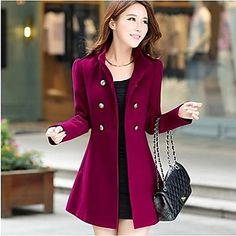 Women's Casual Medium Long Sleeve Long Coat ( Wool/Cotton/Polyester )(2129573) – USD $ 32.96