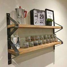 Industrial Chic Full Stave Oak Double Shelf with Trapeze Steel Brackets 608 Welded Furniture, Diy Garden Furniture, Cheap Furniture, Industrial Furniture, Wall Mounted Shelves, Rustic Shelves, Metal Shelves, Shelf Brackets, Industrial Chic
