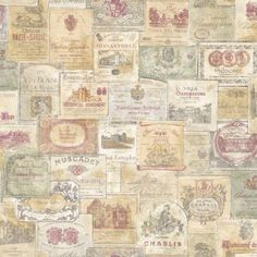 G56173 - Wine Labels - Vintage - French - Wallpaper