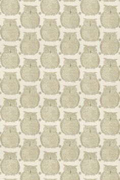 Tawny Owl (Tawny/001) - Blendworth Fabrics - A cute and quirky owl motif, in beige on cream with metallic detailing and green beaks. Linen mix fabric. Please request sample for true colour match.