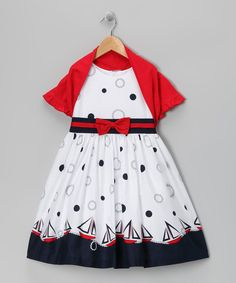 Jayne Copeland White Sailboat Dress & Red Shrug - Girls
