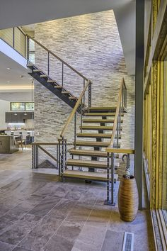 Ferndale Residence featuring ErthCOVERINGS Silver Fox Panels (SF-PAN) on the stairway walls