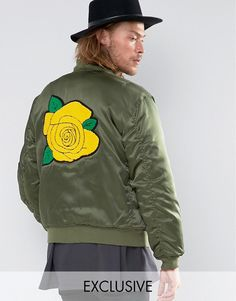 Image 1 of Reclaimed Vintage Satin MA1 Bomber Jacket With Rose Back Patch