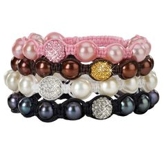 Each bracelet has been created to maximize the alluring beauty of genuine cultured pearls and sparkling pave crystals, cleverly hand tied in macrame cord, and available in four. More Details Bangles, Beaded Bracelets, Macrame Cord, Cultured Pearls, Polymer Clay, Jewelry Making, 100 Followers, Sparkle, Crystals