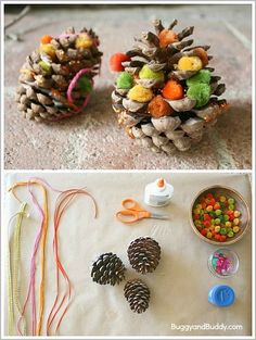 Fun Fall Process Art for Kids using natural materials: Decorate pinecones in autumn colors using various craft supplies like ribbons, yarn, pompoms and more! Perfect for toddlers, preschool, and kindergarten! ~ BuggyandBuddy.com