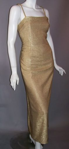 1960s gold evening gown, no label. DCV archives