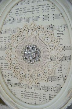 Shabby White Decor Altered Lace Art Vintage Rhinestone by QueenBe Sheet Music Crafts, Sheet Music Art, Vintage Sheet Music, Framed Sheet Music, Doily Art, Lace Art, Crafts To Make, Fun Crafts, Picture Frame Crafts