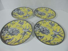 """Adelaide Yellow Porcelain Set of 4 Round Dessert Appetizer Plates 6.5"""" 222 Fifth…"""